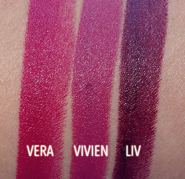 NARS Vera, Vivien and Liv Swatches