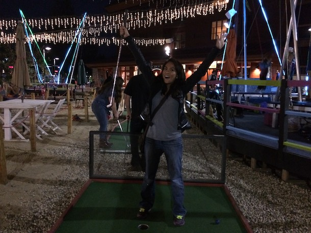 Lake Tahoe dinner date and miniature golf