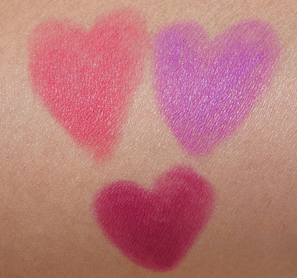 LORAC Pro Matte Lip Color Swatches clockwise from the bottom: Magenta, Coral and Violet