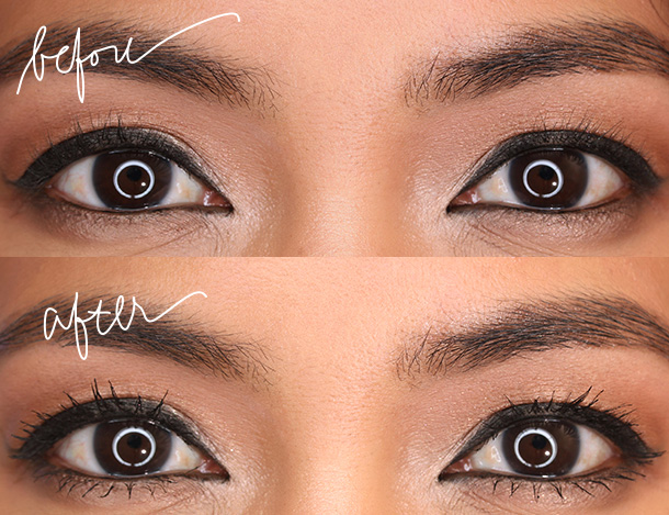 Lancome Grandiose Mascara, before and after a single coat