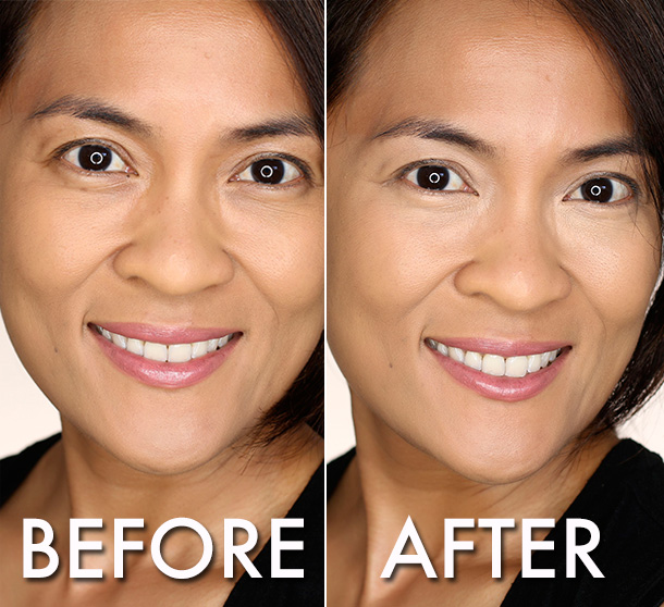 Laura Mercier High Coverage Concealer For Under Eye in shade 4, before and after