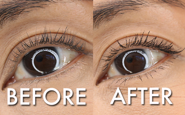 L'Oreal Miss Manga Mascara before and after