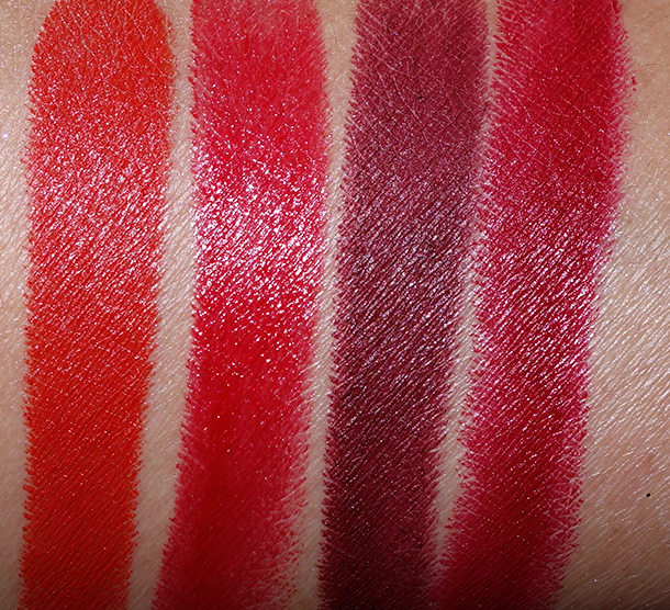 MAC Rocky Horror Lipstick swatches from the left: Strange Journey, Oblivion, Sin and Frank-N-Furter