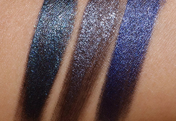 Milani Gel Eye Liner Swatches from the left Enchanted Emerald, Enchanted Black Opal and Enchanted Lapis