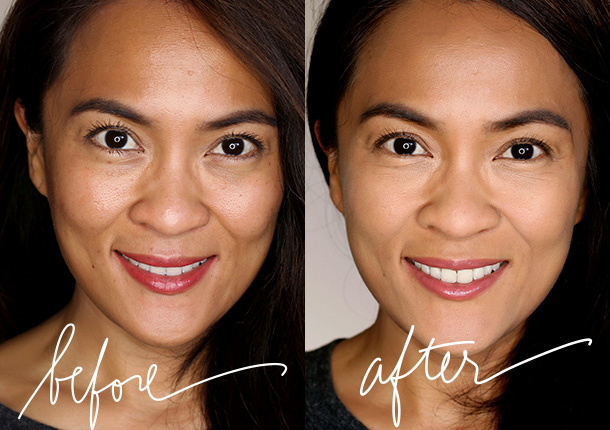 NARS All Day Luminous Powder Foundation before and after