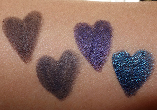 Urban Decay Black Magic swatches from the left: Demolition, Smoke, Tornado and LSD