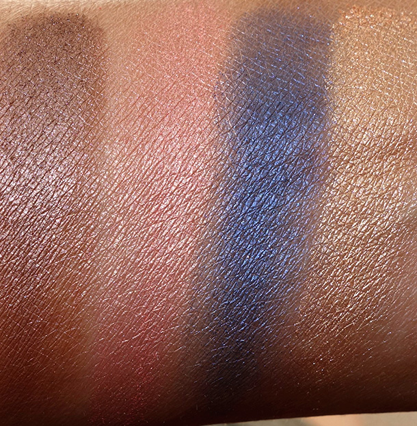 Urban Decay Shadow Box Swatches from the left: Lost, Freelove, Moonshadow (new) and Baked Cowboy (new)