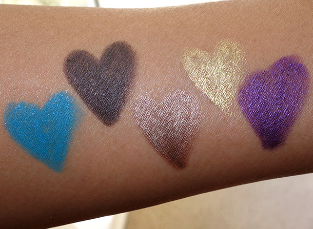 Urban Decay Ten Swatches from the left: Gonzo, Smokeout, Mugshot, Stargazer and Voodoo