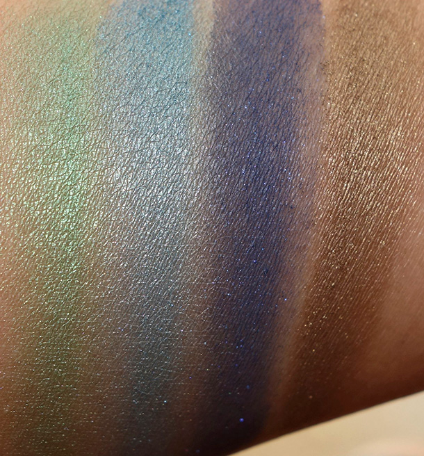 Urban Decay Vice3 swatches from the left: Dragon, Freeze, Heroine and Brokedown