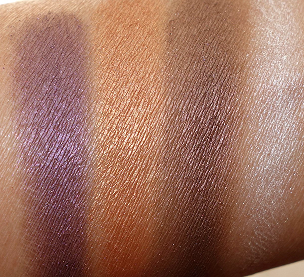Urban Decay Vice3 swatches from the left: Vanity, Lucky, Reign and Bobby Dazzle