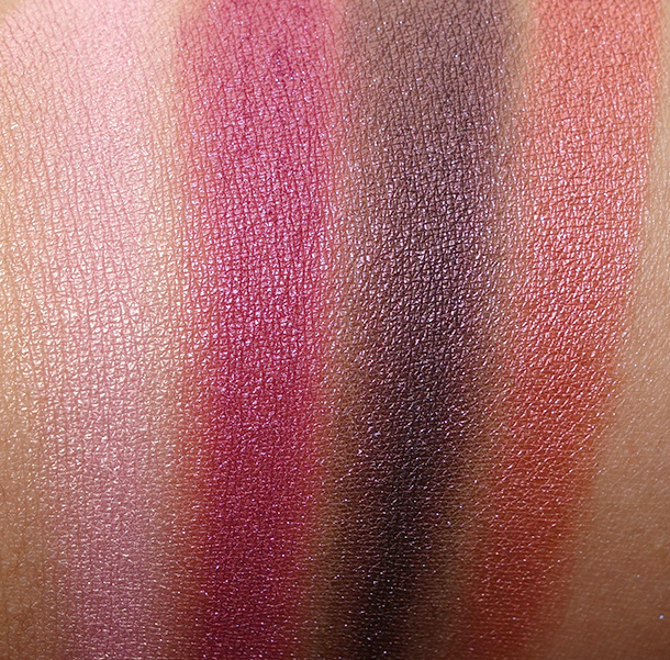 Urban Decay Vice3 swatches from the left: Alien, Alchemy, Bondage and Sonic