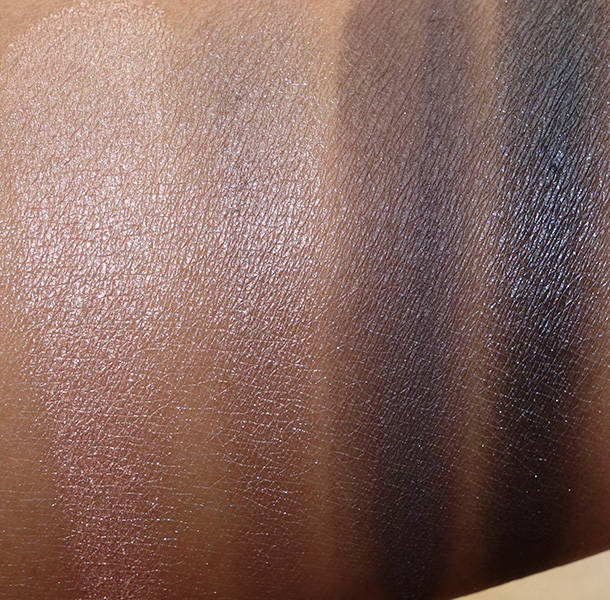 Urban Decay Vice3 swatches from the left: Last Sin, Angel, Defy and Revolver