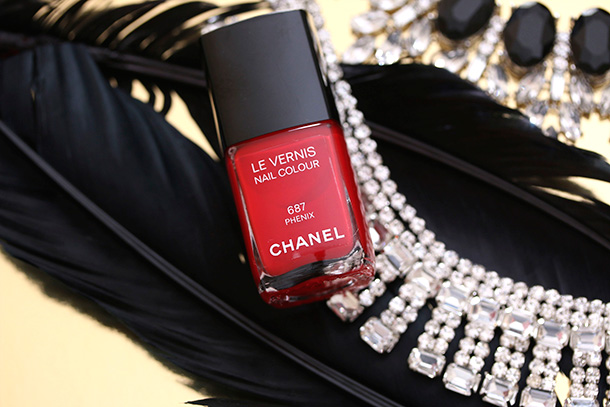 Chanel Le Vernis Nail Colour in Phenix, a bright orangey red, $27