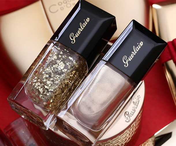 Guerlain Le Vernis Nail Lacquer in e Vernis Nail Lacquer in 901 L'Oiseau de Feu (left) and 400 Coque d'Or (right)