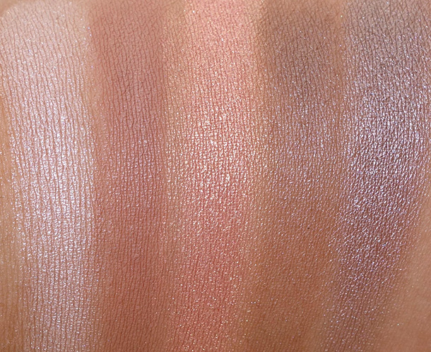 MAC Brooke Shields Gravitas Swatches 2MAC Brooke Shields Gravitas Swatches, Top Row: Pretty, Soft Brown, Expensive PInk, Clove and Satin Taupe