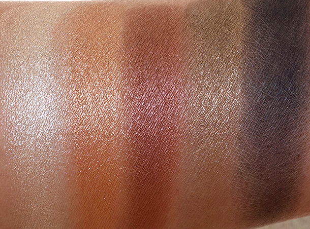 MAC Brooke Shields Gravitas Swatches 2MAC Brooke Shields Gravitas Swatches, Middle Row: Canter, Luscious, Antiqued, Psyche and Carbon