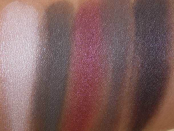 MAC Brooke Shields Gravitas Swatches, Bottom Row: Shroom, Persuade, Plummed, Lofty and Pepper