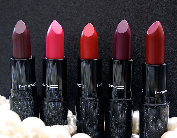 MAC Heirloom Mix Lipsticks from the left: Tribalist, No Faux Pas, Sparks of Romance, Rebel and Salon Rouge