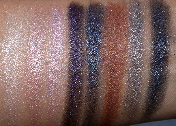 MAC Heirloom Mix Pressed Pigments from the left: Regal Affair, Nostalgic, Noble Descent, Victorian Plum, Enchantment, Modern Majesty, Noblesse Oblige and Prim and Proper