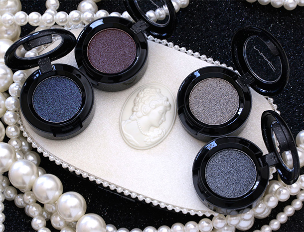 MAC Heirloom Mix Pressed Pigments clockwise from the left: Enchantment; Modern Majesty; Noblesse Oblige; and Prim and Proper