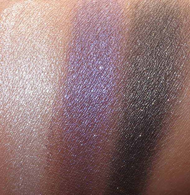 NARS Holiday 2014 swatches from the left: Hardwired Eyeshadows in Opal Coast, Canberra and Gabon