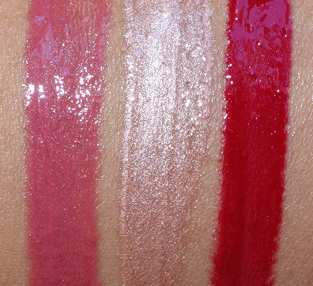 NARS Lipglosses from the Laced With Edge Holiday collection swatches from the left: Corsica, Soleil D'Orient and Burning Love