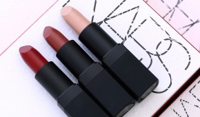 NARS Laced With Edge Holiday Collection Lipsticks from the left: Deadly Catch, Femme Fleur and Adriatic