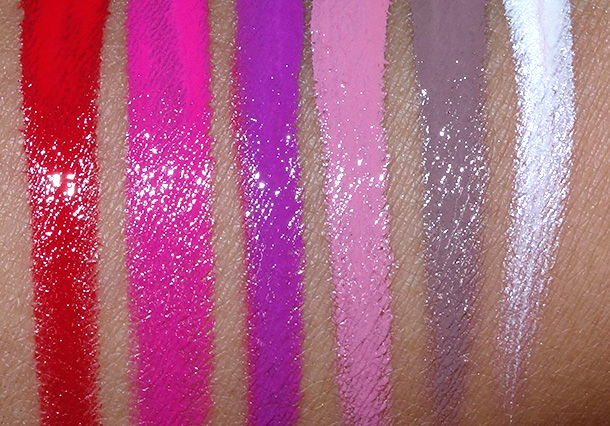 OCC Pro Pics Swatches from the left: Harlot, Nylon, Hoochie, Digitalis, Sebastian and Iced