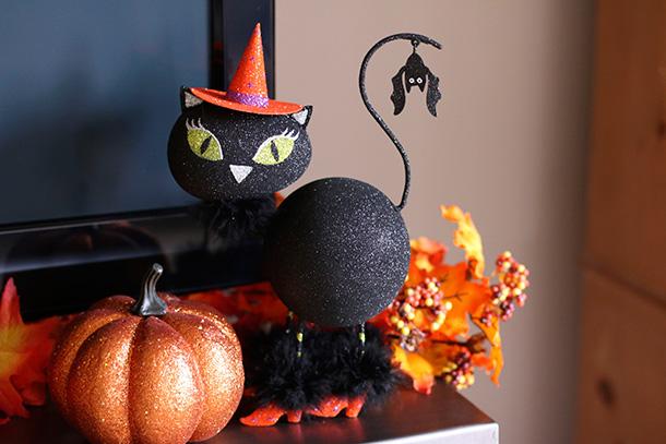 glittery black cat