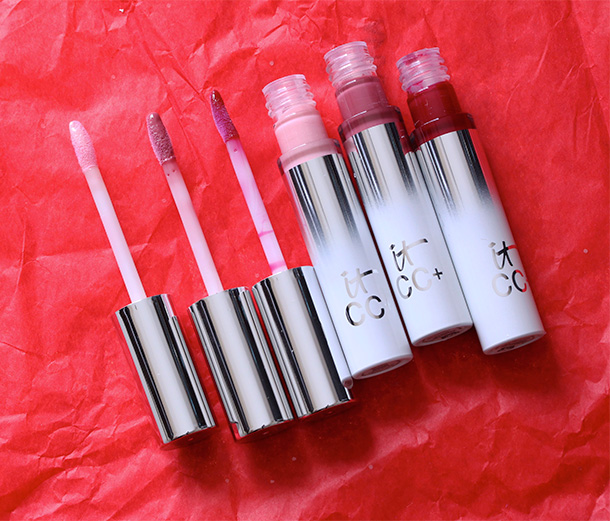 It Cosmetics The It Girl Set glosses from the left: Snow Bunny, Joy to the World and Under the Mistletoe