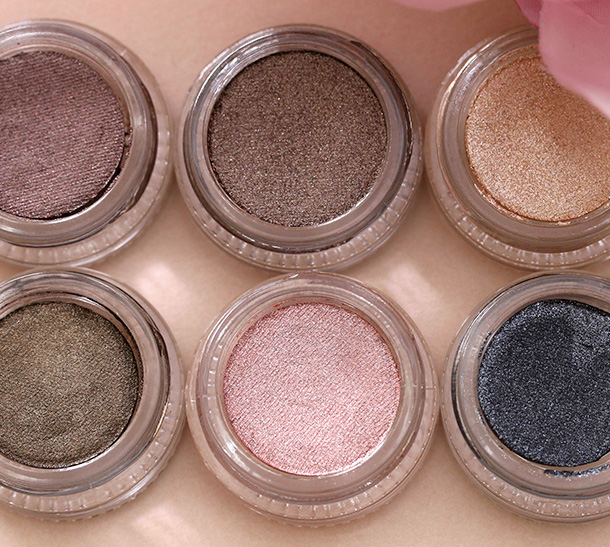 Jouer Long-Wear Creme Mousse Eyeshadow Swatches from the left: Dusk, Galaxy, Moonlight, Night Sky, Starlight and Twilight