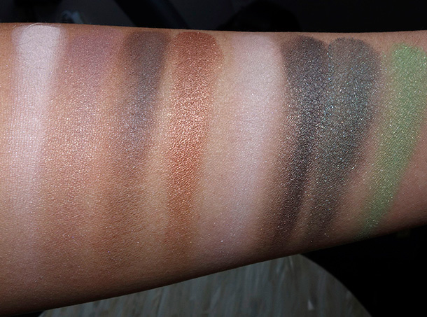 Kat Von D Star Studded Eyeshadow Book swatches from the left: Moz, Heaven Knows, Leather, Smiths, Crosses, Covenant, Cult and Craft