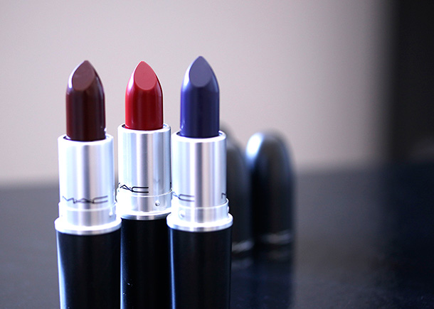 MAC Nasty Gal Matte Lipsticks from the left: Runner, Stunner and Gunner