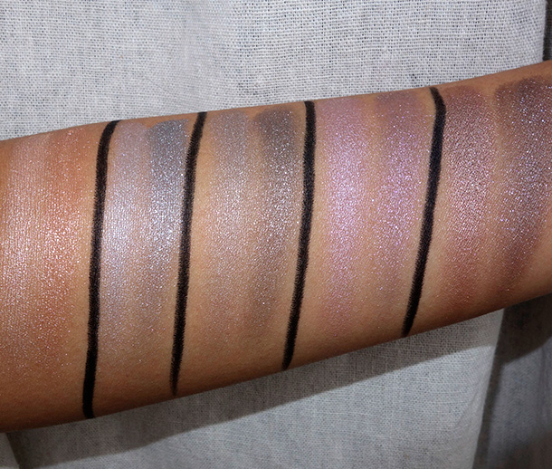 MAC Lightness of Being Swatches Mineralize Eye Shadows from the left: Natural Vigor, Just Breathe, Uninhibited, Leap and Force of Nature