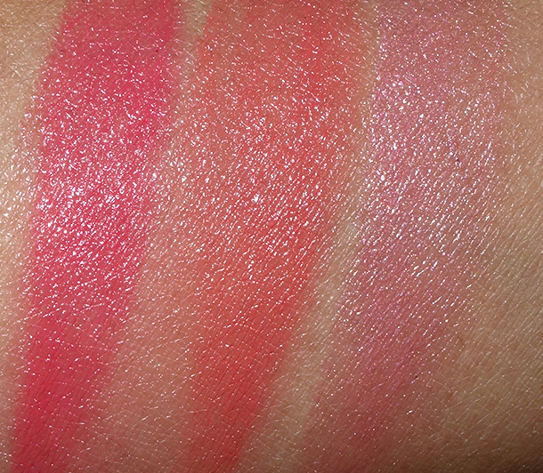 MAC Red Red Red Casual Color Swatches from the left: Secret Admirer, Out for Fun and Red Obsessed