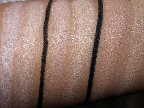 MAC Studio Finish Concealer Duos from the left: NW10/NC20, NW20/NC25 and NW30/NC35