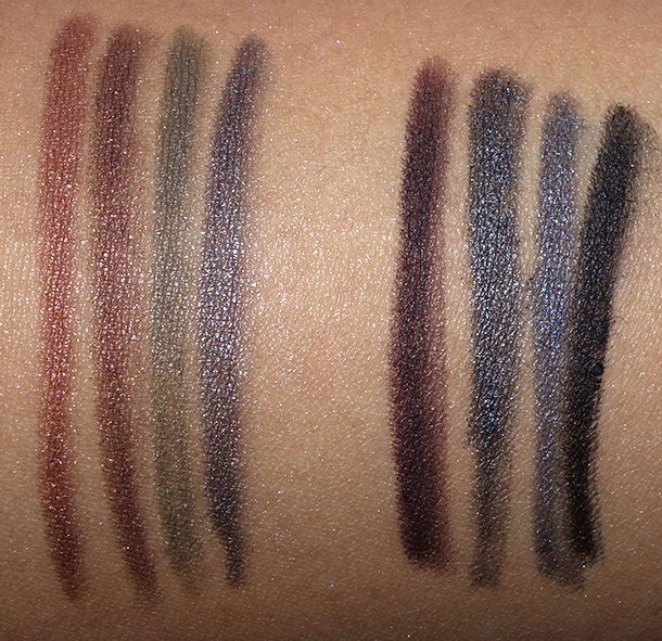 MAC Technakohl Liner swatches from the left: Plank, Broque, Army Style, Clay, Raisinette, Steelpoint, Metalhead and Superply