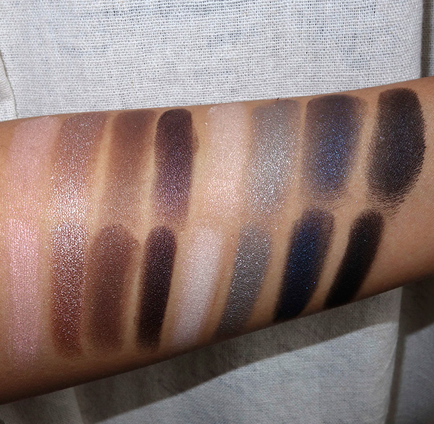 NARS Dual Intensity Eyeshadow Palette swatches dry (top row) and wet (bottom row)