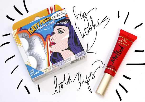 Katy Perry Color Pop Lashes and Too Face Melted Liquified Lipstick in Strawberry