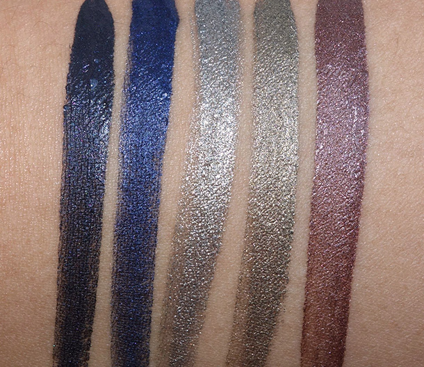 Swatches from the left: 01 Obsidian, 02 Minuit, 05 Onyx, 06 Green Iron and 10 Senso
