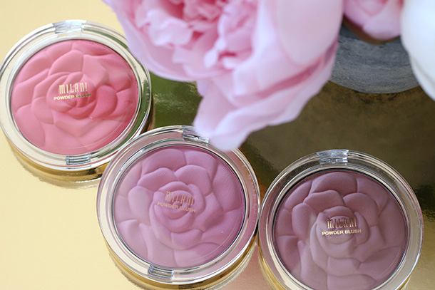 Milani Rose Powder Blushes from the left: Coral Cove, Tea Rose and Romantic Rose ($7.99 each)