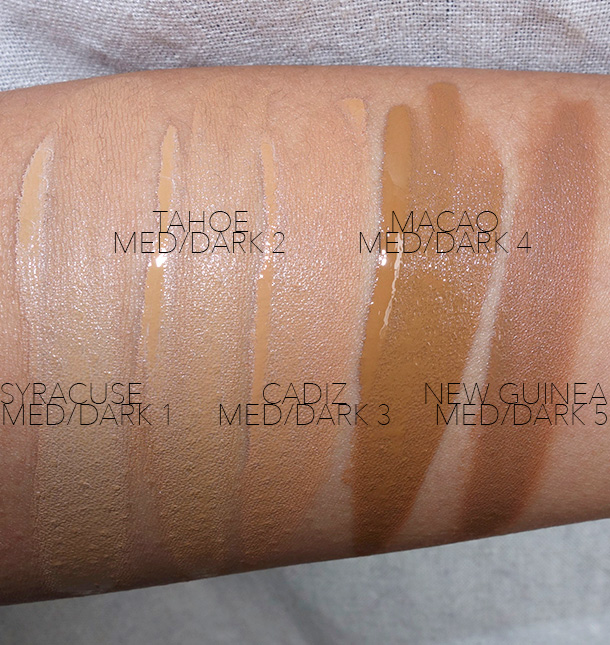 NARS All Day Luminous Weightless Foundation Swatches, Med/Dark Shades