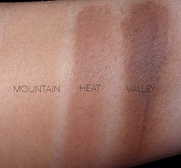 NARS Soft Velvet Loose Powder Swatches for the Deep shades: Mountain (deep reddish-brown), Heat (deepest true brown) and Valley (deepest neutral)