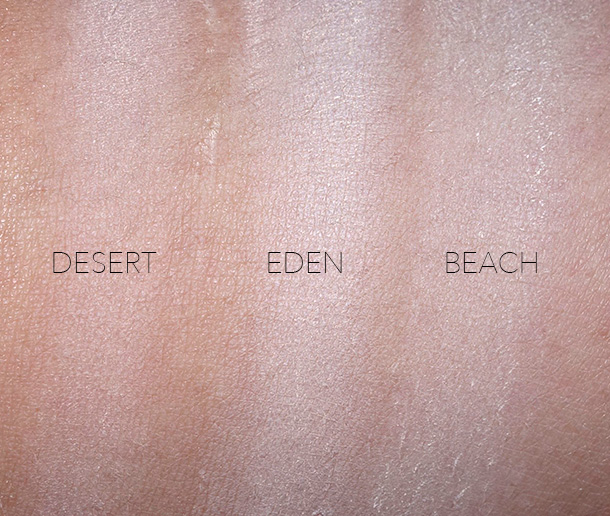 NARS Soft Velvet Loose Powder Swatches for the Medium shades: Desert (light rose undertones), Eden (yellow undertones) and Beach (deep yellow undertones)