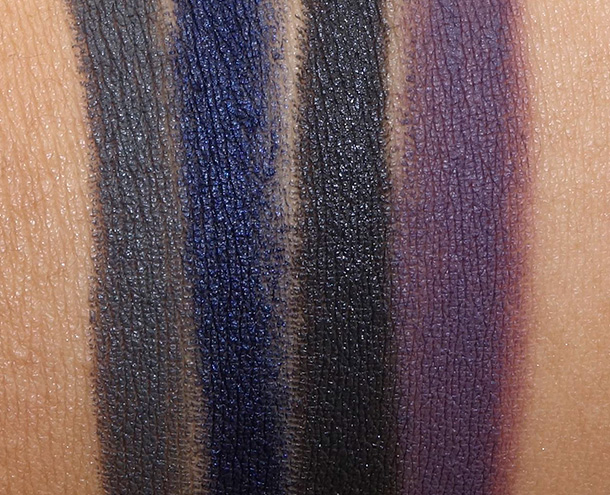 NARS Velvet Shadow Stick Swatches from the left: Reykjavick, Glenan, Flibuste and Nunavut
