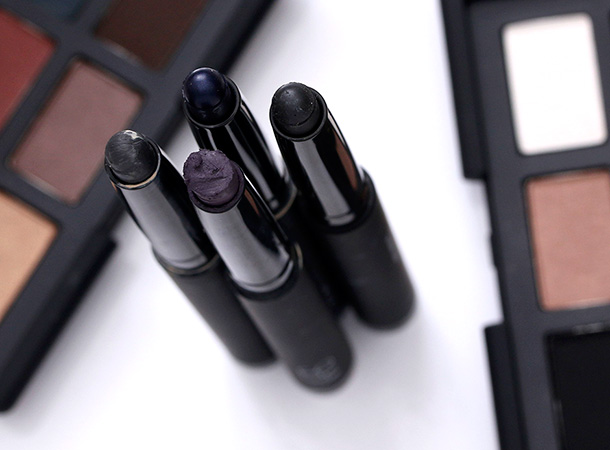 NARS Velvet Shadow Sticks clockwise from the far left: Reykjavick, Glenan, Flibuste and Nunavut