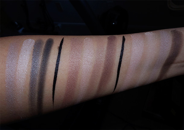 Neutrogena Nourishing Long Wear Eye Shadow swatches from the left: Smoky Steel, Cocoa Mauve and Classic Nude