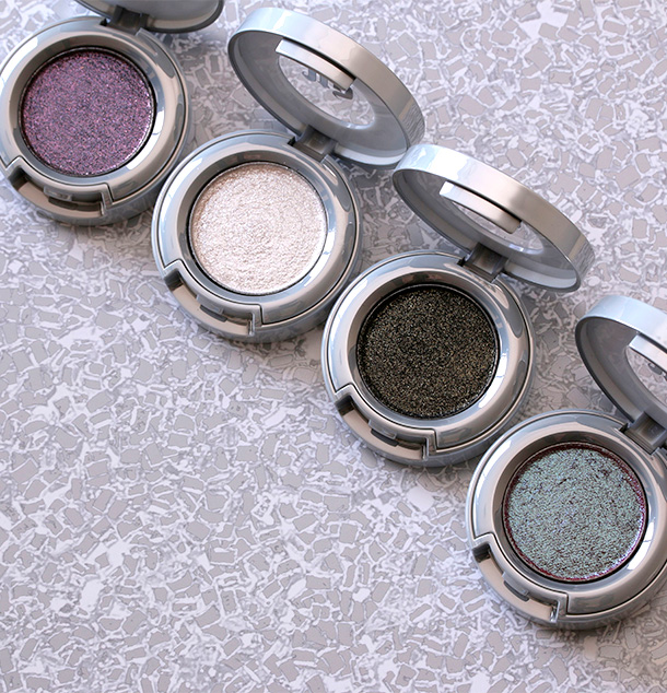 The four new Urban Decay Moon Dust Eye Shadows, from the left: Ether, Cosmic, Scorpio and Solstice