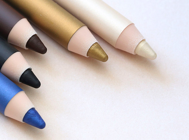 Estee Lauder Stay-in-Place Double Wear Eye Pencils from the left: 08 Electric Cobalt, 01 Onyx, 02 Coffee, 13 Gold and 08 Pearl