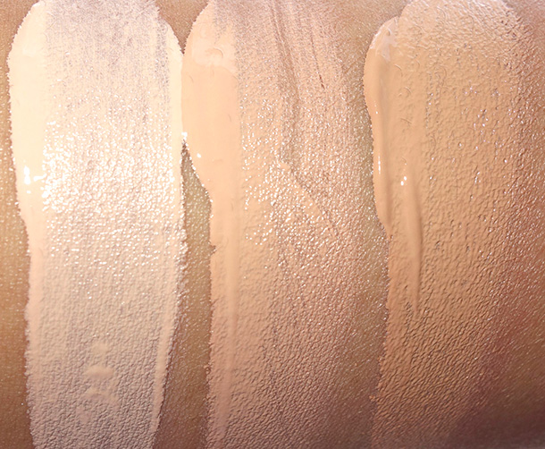 Guerlain Baby Glow Swatches from the left: 02 Clair, 03 Medium and 04 Dore